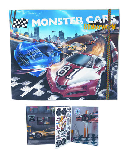 Monster Cars Stickerworld tarrakirja