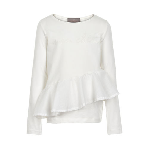 Creamie Ruffle Ls T-Shirt, Cloud