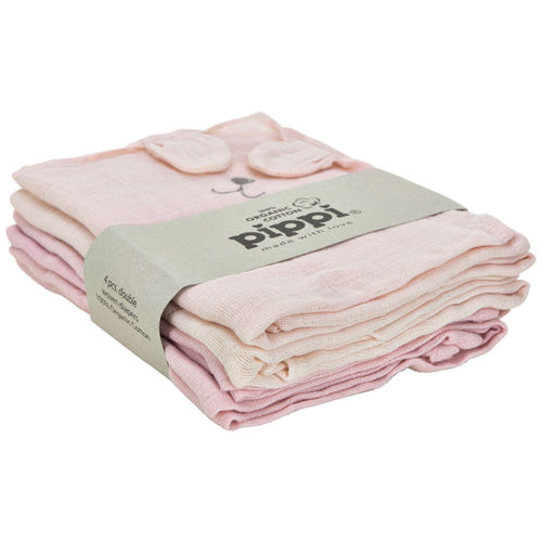 Pippi Orcanic Cloth Muslin 4-Pack, Peachskin