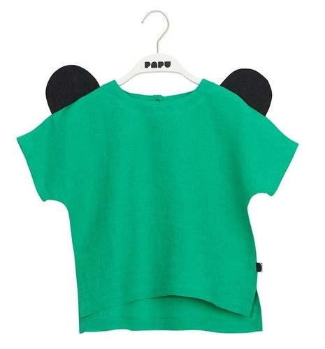 Papu Linen Bear Ear Shirt, Loud Green/Black