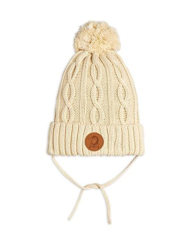 Mini Rodini Knitted Pompom Hat, Off White
