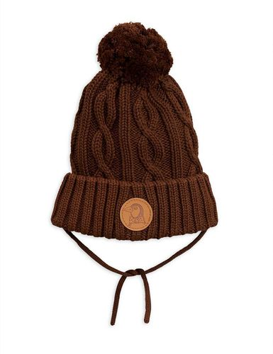 Mini Rodini Knitted Pompom Hat, Brown