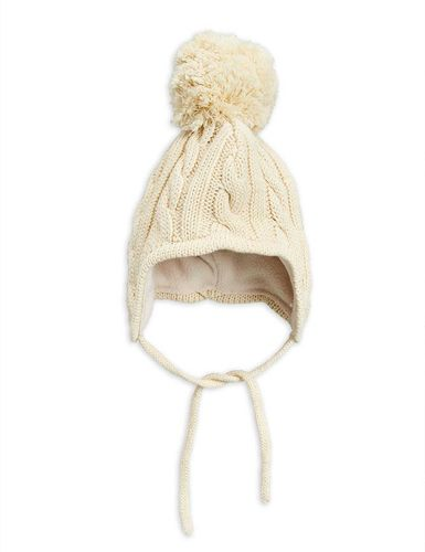 Mini Rodini Knitted Baby Hat, Off White