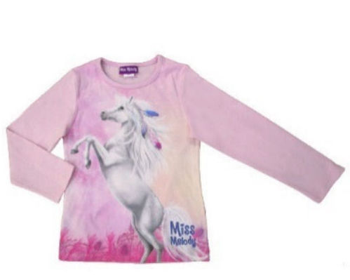 Miss Melody White Horse Ls Shirt, Light Pink