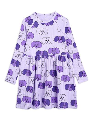 Mini Rodini Fluffy Dog Aop Ls Dress, Purple