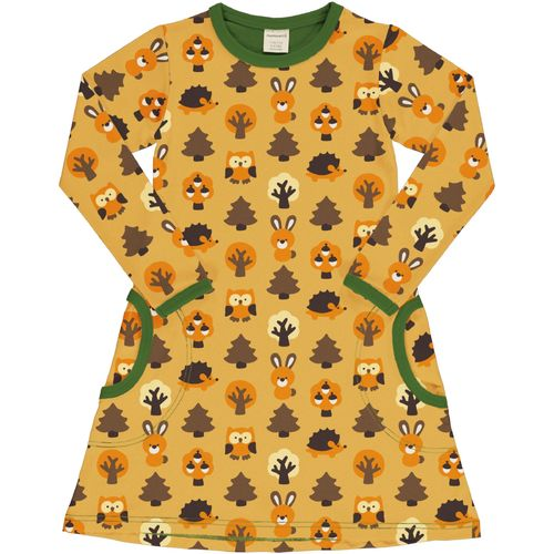 Maxomorra Yellow Forest Ls Dress